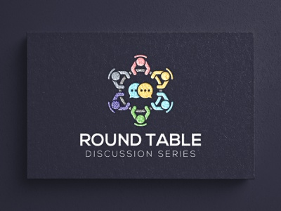 Round table discussion series logo design sitting