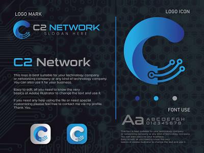 C2 Network Logo Design letter logo web logo apps logo graphic design business branding logo design letter abstract logo modern logo tech logo network logo technology logo logo