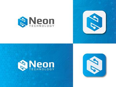 Neon Technology Logo tech logo technology abstract professional