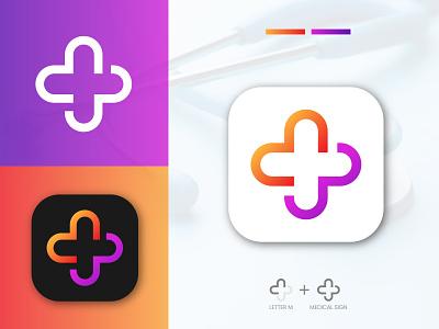 M Letter + Medical Sign minimal brand cross startup
