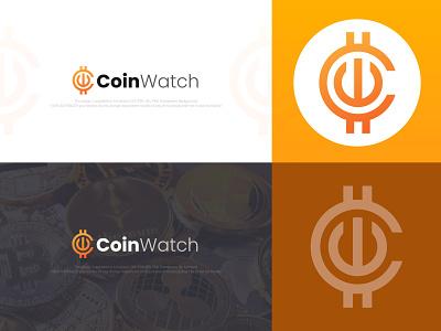 Coin Watch Logo 2nd Concept logo market network vector abstract technology token trade currency internet cash blockchain crypto exchange digital virtual crypto currency modern watch coin