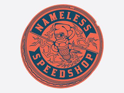 Nameless SpeedShop character piston spark plug typography branding logo icon brand auto speedshop badge illustration