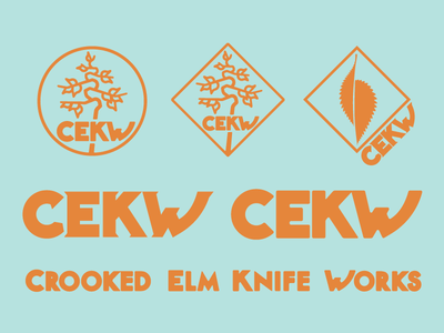 Crooked Elm Knife Works - Brand Exploration custom-type typography craft neature thick-lines icon nature knife logo illustration branding