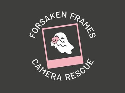 Forsaken Frames Camera Rescue photography ghost rescue reclaimed vintage film polaroid character design illustration graphic branding logo