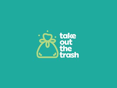 Take Out The Trash 03 personal branding self promo trash trash bag self care mental health thick lines minimalist badge minimal simple icon branding illustration