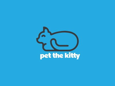 Pet the Kitty 09 pet cats self promo self care cat icon animal icon humane society adopt cat mental health thick lines geometric badge simple minimal typography icon illustration