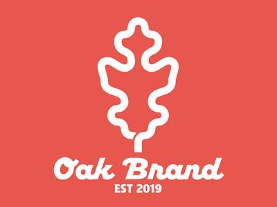 Oak Brand *the perfect leaf* nature minimalist thick lines badge logo typography minimal branding icon illustration geometric