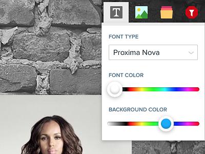 Fella - Slide toolbar app ui toolbar popup menu icons slider colorpicker
