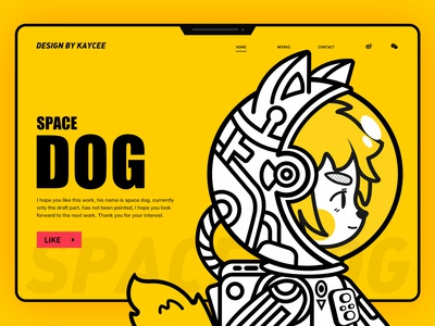 Space Dog | Black and white line drawing illustration