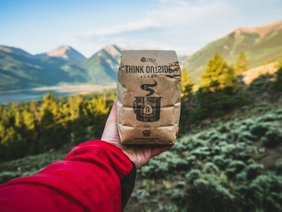 'Think Outside' Coffee package product carabiner designer sierra bag coffee design