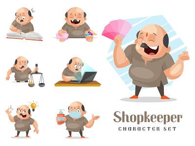 Shopkeeper Character Set sticker vector shopkeeper character cartoon design illustration
