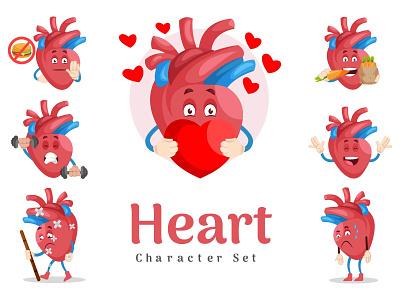 Heart Character Set red happy heart vector sticker illustration design character cartoon