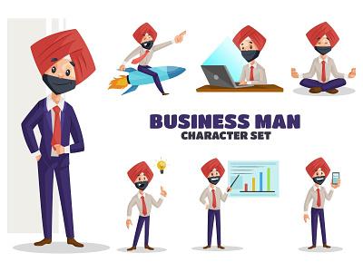 Businessman Character Set cartoon design sardar businessman punjabi vector sticker illustration design character cartoon