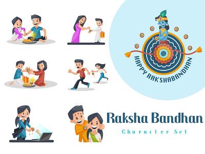 Raksha Bandhan Character Set festival rakhi vector sticker illustration design character cartoon