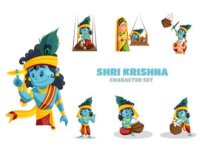 Shri Krishna Character Set lord happy design festival sticker krishna vector illustration character cartoon