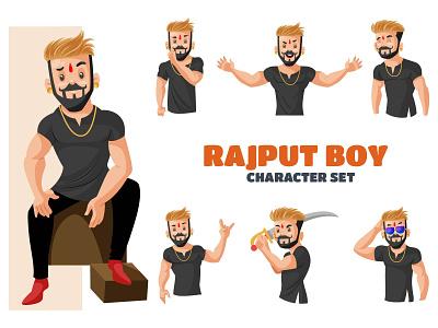 Rajput Boy Character Set man indian boy rajput vector sticker illustration design character cartoon