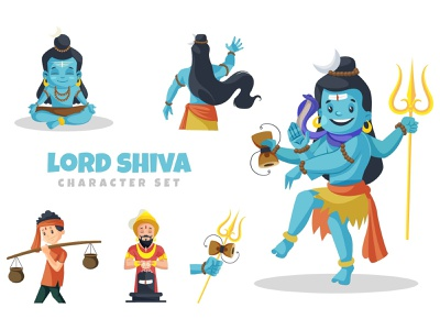 Lord Shiva Character Set bholenath mahadev shiva lord sticker illustration vector design character cartoon