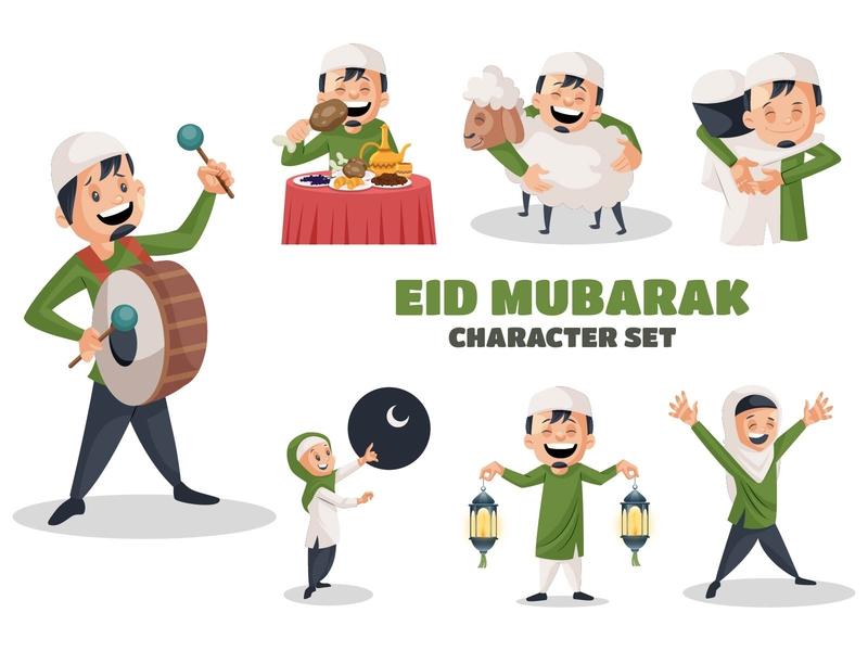 Eid Mubarak Character Set indian happy mubarak eid festival cartoon design vector sticker illustration character cartoon