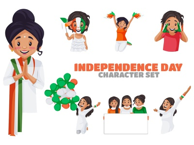 Independence Day Character Set design character 15 august illustration vector cartoon sticker independence day
