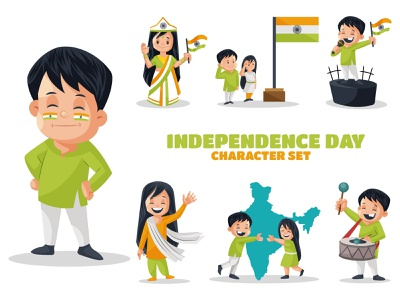 Independence Day Character Set indian happy sticker vector illustration character cartoon