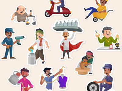 10 Indian Character Sets | Vocal for Local indian illustrator indian people cartoon local india indian cartoon mechanic jeweller cartoon chaiwala doodhwala cartoon dabbawala cartoon shopkeeper cartoon vocal for local cartoon india indian character