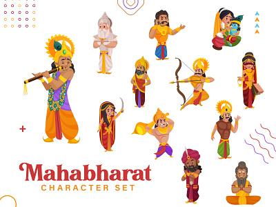 Mahabharat - Cartoon Character Series indian gods dhritrashtra hanuman maharaj bhim karan arjun krishna mahabharat indian design indian art indian culture indian illustration indian cartoon cartoon design vector sticker illustration character cartoon
