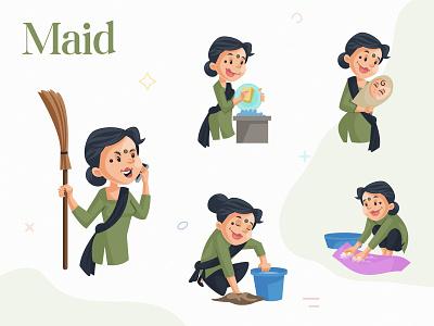 Indian Maid Character Set indian illustrator indian art businessman indian culture indian cartoon indian cartoon design sticker illustration cartoon character design character maid cartoon