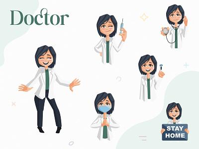 Indian Doctor Character Set indian lady doctor happy design cartoon design vector sticker illustration character cartoon