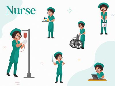 Indian Nurse Character Set sticker design illustration character cartoon