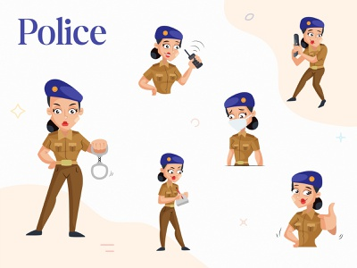 Indian Lady Police Character Set lady police indian indian cartoon cartoon design design vector sticker illustration character cartoon