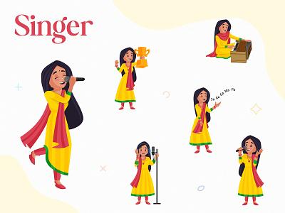 Indian Singer Character Set girl singer indian cartoon indian cartoon design design vector sticker illustration character cartoon