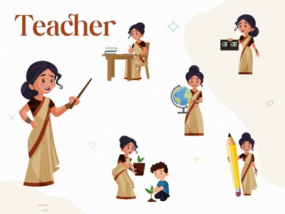 Indian Lady Teacher Character Set teacher lady happy indian cartoon indian cartoon design sticker illustration character cartoon