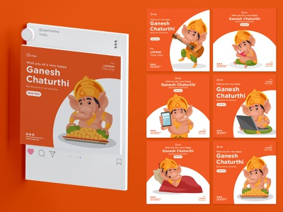 Happy Ganesh Chaturthi creativehatti india creative mascot ganesh cartoon design design vector sticker illustration character cartoon