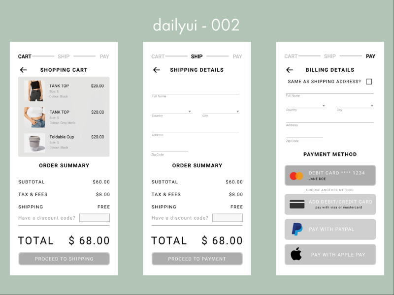 #002 Part One - Daily UI Credit Card Checkout shopping cart shopping payment ecommerce app ecommerce dailyui 002 credit card payment credit card checkout checkout app design dailyui