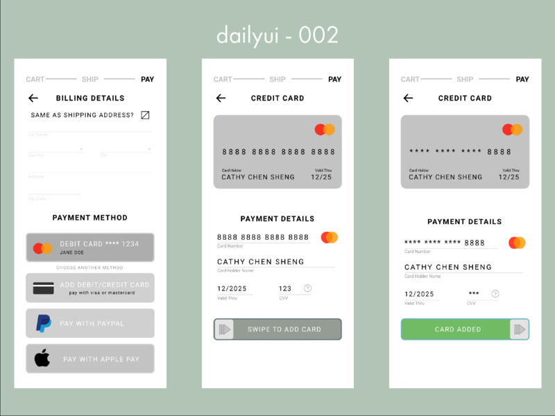 #002 Part Two - Daily UI Credit Card Checkout shopping cart payments dailyui 002 dailyui online shopping ecommerce payment credit card form credit card checkout app design