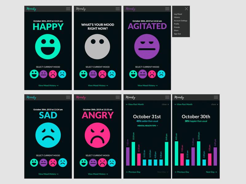 Moody App Concept app concept app animation goofy ui uxd mentalhealth mood interface design adobe xd