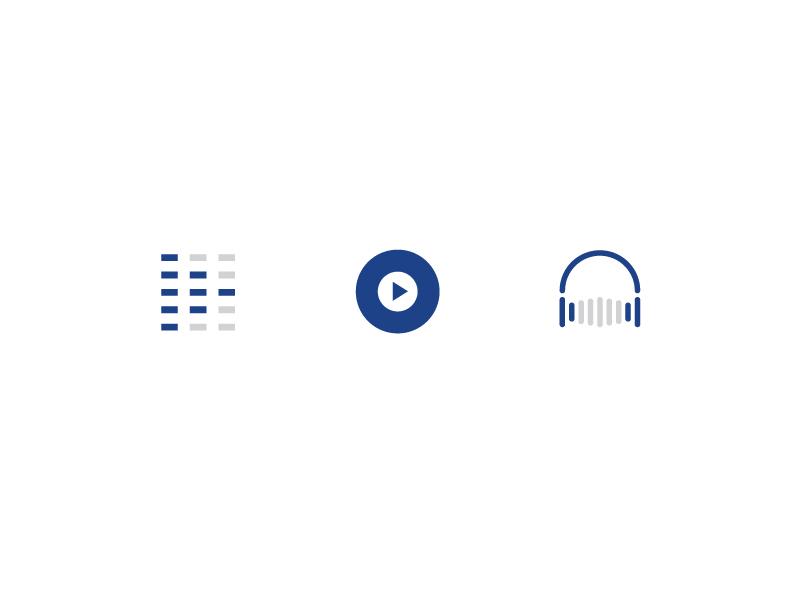 djs.com branding illustrator headphones online streaming play button vinyl equalizer music dj vector logo mark