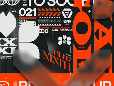 The Ninth maximal fonts typography branding poster cyber marks orange madness crazy badge logo type