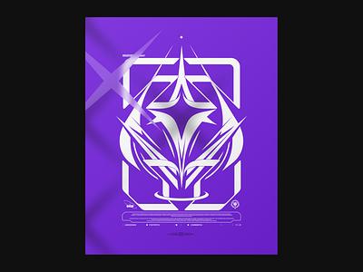 Abdication poster cyberpunk anime girls frontline arknights vtuber logo purple evangelion mecha metal emblem crest