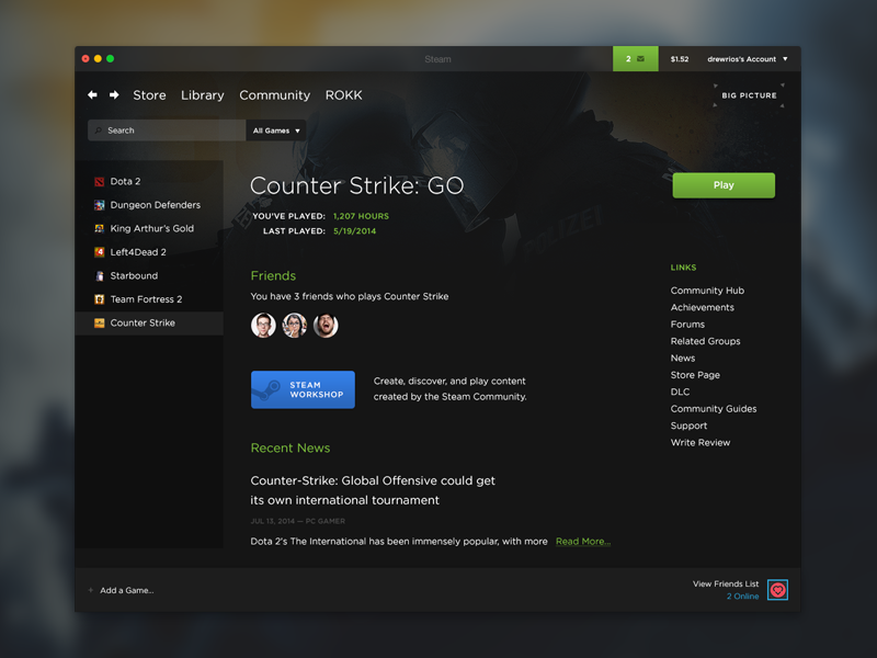 Steam Redesign by Drew Rios - Dribbble