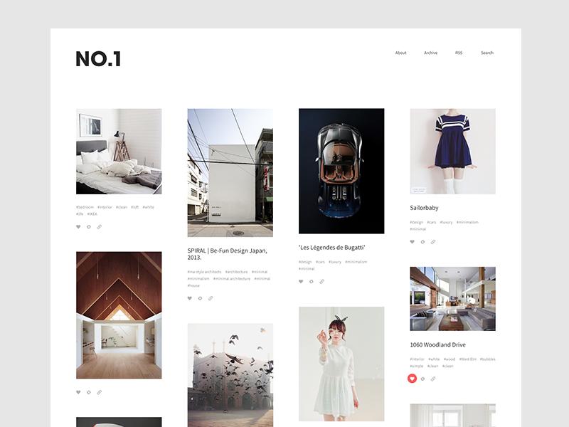 NO.1 \u2014 Tumblr Theme by Drew Rios | Dribbble | Dribbble
