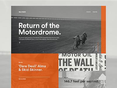 Return of the Motordrome clean simple flat interactive wall of death articles blog orange web vintage motorcycle motordrome