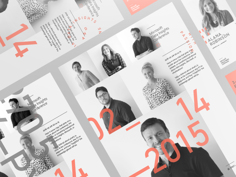 Microsoft Data Insights Posters modern simple minimal badge posters visualization bi conference identity branding print microsoft