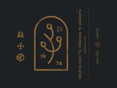 Memento gold evergreen heavy letterpress badge mark latin old denim vintage