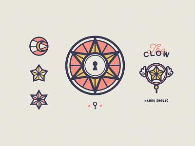 The Clow badge icon geometric shoujo simple letterpress screenprint color illustration mark logo