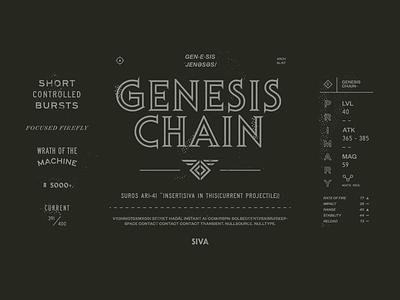 GENESIS CHAIN~ old school icon stamp badge print vintage typography type destiny