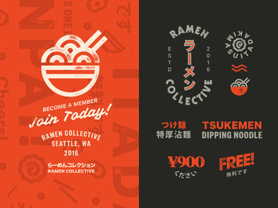 Ramen Marks #2 typography stamp ramen mark logotype logo letterpress japanese icon heavy branding badge