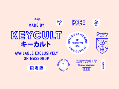 Keycult Brand vibrant maker shield type japanese emblems badges simple pink keyboards identity brand