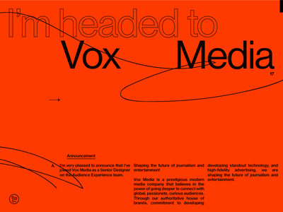 Headed to Vox sans swiss hmm helvetica layout old school flat weird orange simple vox media