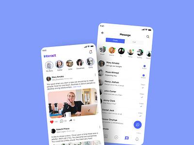 Interact social app chat call feeds social media ui